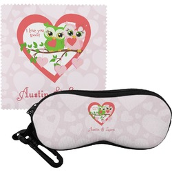 Valentine Owls Eyeglass Case & Cloth (Personalized)