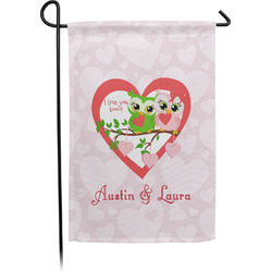 Valentine Owls Single Sided Garden Flag With Pole (Personalized)