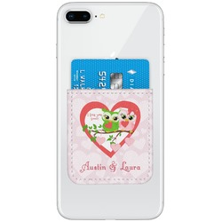 Valentine Owls Genuine Leather Adhesive Phone Wallet (Personalized)