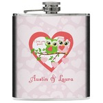 Valentine Owls Genuine Leather Flask (Personalized)