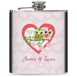 Valentine Owls Genuine Leather Flask (Personalized)