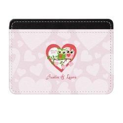 Valentine Owls Genuine Leather Front Pocket Wallet (Personalized)