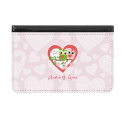 Valentine Owls Genuine Leather ID & Card Wallet - Slim Style (Personalized)