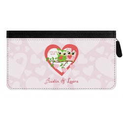 Valentine Owls Genuine Leather Ladies Zippered Wallet (Personalized)