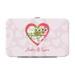 Valentine Owls Genuine Leather Small Framed Wallet (Personalized)