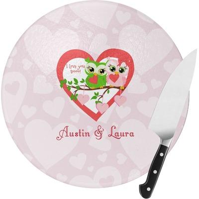 Valentine Owls Round Glass Cutting Board (Personalized)