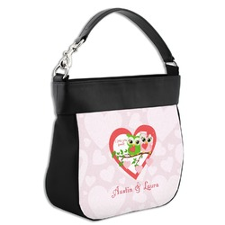 Valentine Owls Hobo Purse w/ Genuine Leather Trim (Personalized)
