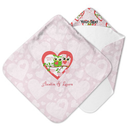 Valentine Owls Hooded Baby Towel (Personalized)