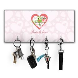 Valentine Owls Key Hanger w/ 4 Hooks w/ Couple's Names