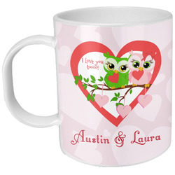 Valentine Owls Plastic Kids Mug (Personalized)