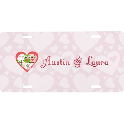 Valentine Owls Front License Plate (Personalized)