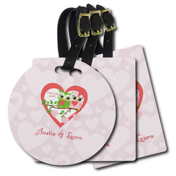 Valentine Owls Plastic Luggage Tags (Personalized)