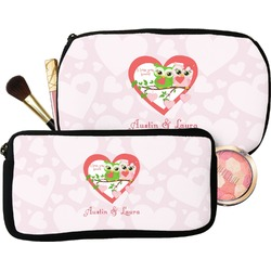 Valentine Owls Makeup / Cosmetic Bag (Personalized)