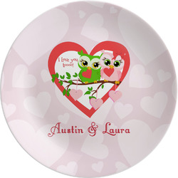 Valentine Owls Melamine Plate (Personalized)