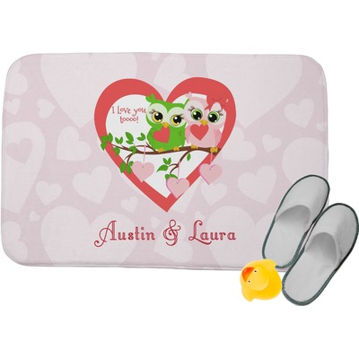 Valentine Owls Memory Foam Bath Mat (Personalized)