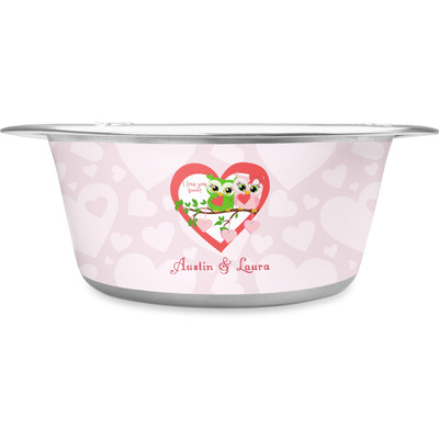 Valentine Owls Stainless Steel Dog Bowl (Personalized)