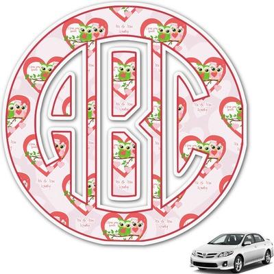 Valentine Owls Monogram Car Decal (Personalized)
