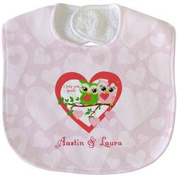 Valentine Owls Velour Baby Bib w/ Couple's Names
