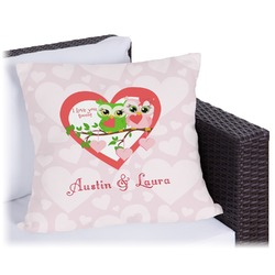 """Valentine Owls Outdoor Pillow - 18"""" (Personalized)"""