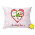 Valentine Owls Outdoor Throw Pillow (Rectangular) (Personalized)