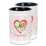 Valentine Owls Ceramic Pencil Holder - Large