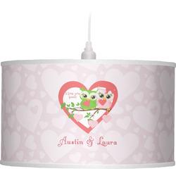 Valentine Owls Drum Pendant Lamp (Personalized)