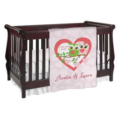Valentine Owls Baby Blanket (Single Sided) (Personalized)