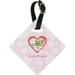 Valentine Owls Diamond Luggage Tag (Personalized)