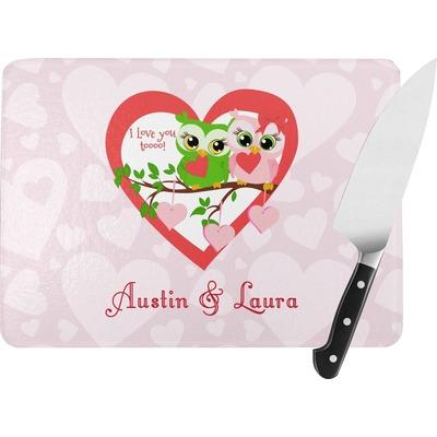 Valentine Owls Rectangular Glass Cutting Board (Personalized)