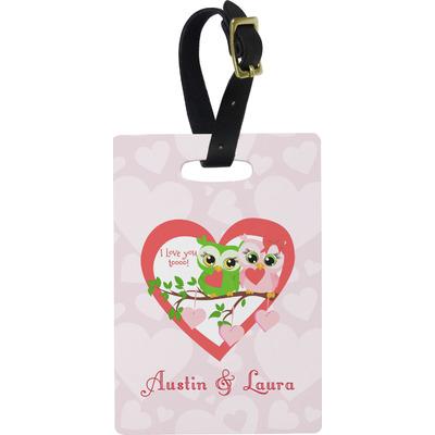 Valentine Owls Rectangular Luggage Tag (Personalized)