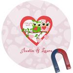 Valentine Owls Round Magnet (Personalized)