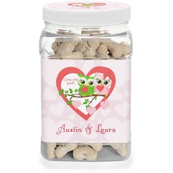 Valentine Owls Pet Treat Jar (Personalized)