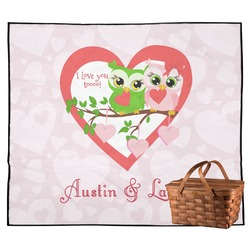 Valentine Owls Outdoor Picnic Blanket (Personalized)