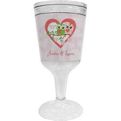 Valentine Owls Wine Tumbler - 11 oz Plastic (Personalized)