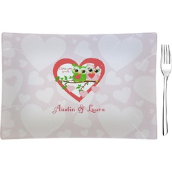 Valentine Owls Glass Rectangular Appetizer / Dessert Plate (Personalized)
