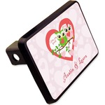 """Valentine Owls Rectangular Trailer Hitch Cover - 2"""" (Personalized)"""