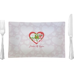 Valentine Owls Rectangular Glass Lunch / Dinner Plate - Single or Set (Personalized)