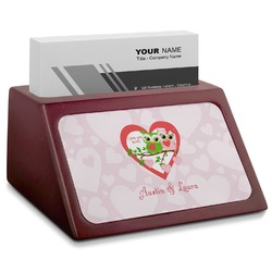 Valentine Owls Red Mahogany Business Card Holder (Personalized)