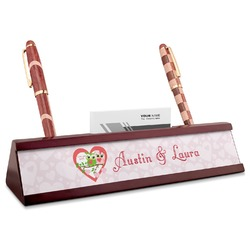 Valentine Owls Red Mahogany Nameplate with Business Card Holder (Personalized)