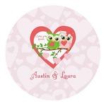 Valentine Owls Round Decal - Custom Size (Personalized)