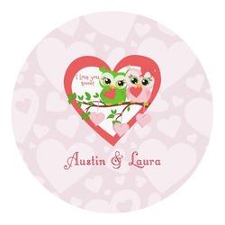 Valentine Owls Round Decal (Personalized)