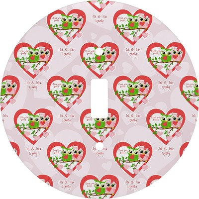 Valentine Owls Round Light Switch Cover (Personalized)