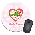 Valentine Owls Round Mouse Pad (Personalized)
