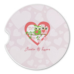 Valentine Owls Sandstone Car Coasters (Personalized)