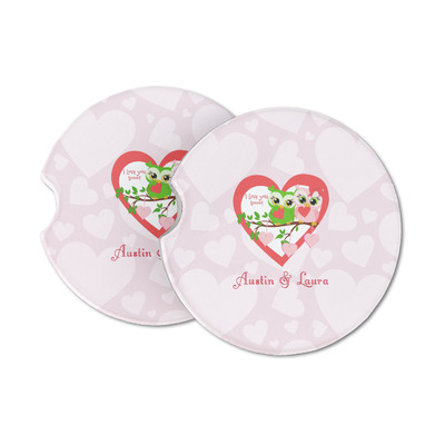 Valentine Owls Sandstone Car Coasters (Personalized)