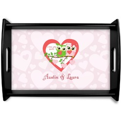 Valentine Owls Black Wooden Tray (Personalized)