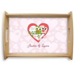 Valentine Owls Natural Wooden Tray (Personalized)