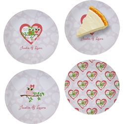 Valentine Owls Set of Appetizer / Dessert Plates (Personalized)