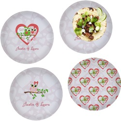 Valentine Owls Set of 4 Lunch / Dinner Plates (Glass) (Personalized)