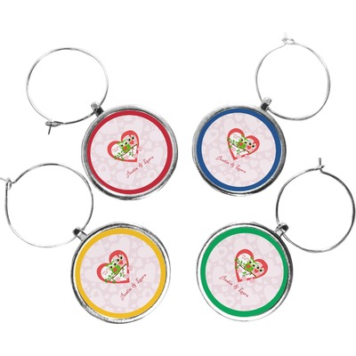 Valentine Owls Wine Charms (Set of 4) (Personalized)